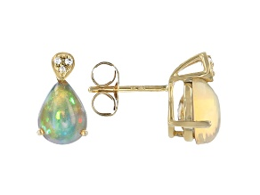 White Ethiopian Opal 10k Yellow Gold Stud Earrings 1.52ctw