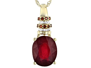 Red Ruby 10k Yellow Gold Pendant With Chain 4.29ctw