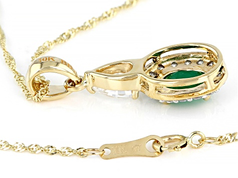 Green Emerald 10k Yellow Gold Pendant With Chain 1.37ctw