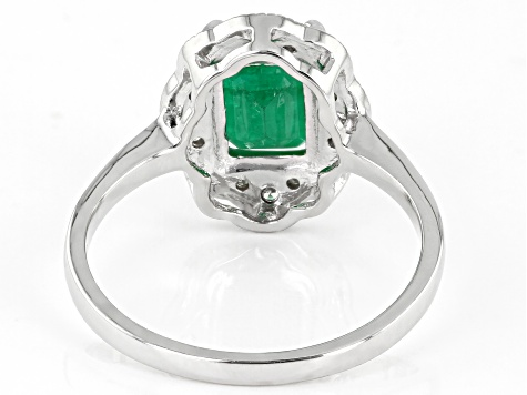 Green Emerald Rhodium Over 10k White Gold Ring 1.40ctw