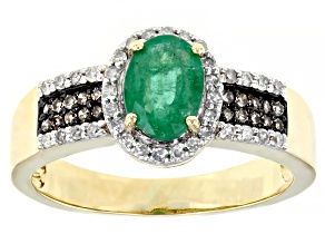 Green Emerald 10k Yellow Gold Ring 0.90ctw