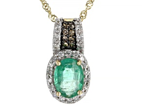 Green Emerald 10k Yellow Gold Pendant With Chain 0.78ctw