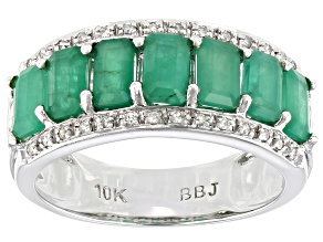 Green Emerald 10k White gold Ring 1.77ctw