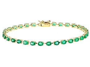 Green Emerald 10k Yellow Gold Bracelet 4.35ctw