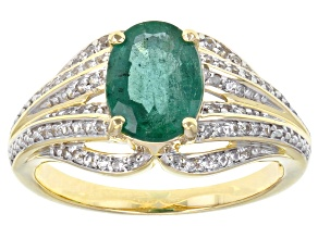 Green Emerald 10k Yellow Gold ring 1.68ctw