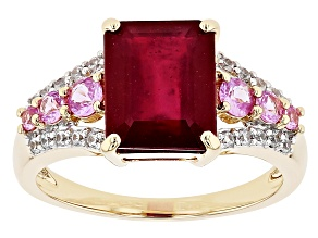 Mahaleo® Red Ruby 10k Yellow Gold Ring 4.22ctw