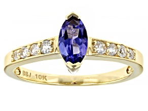 Blue Tanzanite 10k Yellow Gold Ring .76ctw