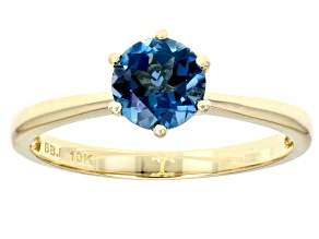 Blue Topaz 10k Yellow Gold Solitaire Ring .72ct