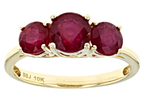 Red Ruby 10k Yellow Gold 3-stone Ring 2.62ctw