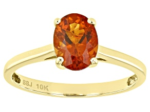 Orange Citrine 10k Yellow Gold Solitaire Ring