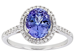Blue Tanzanite Rhodium Over 14k White Gold Ring 1.90ctw