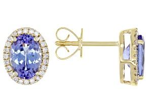 Blue Tanzanite 14k Yellow Gold Stud Earrings 2.06ctw