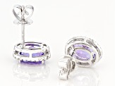 Blue Tanzanite Rhodium Over 14k White Gold Stud Earrings 2.06ctw