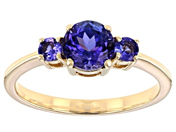 Picture of Blue Tanzanite 10k Yellow Gold 3-Stone Ring. 1.07ctw