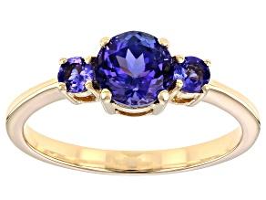 Blue Tanzanite 10k Yellow Gold 3-Stone Ring. 1.07ctw