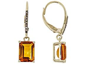 Orange Madeira Citrine 10K Yellow Gold Earrings 2.59ctw