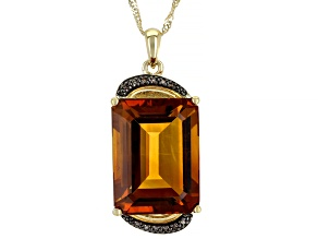 Orange Madeira Citrine 10k Yellow Gold Pendant with Chain 9.38ctw