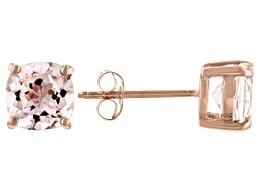 Pink Cor De Rosa Morganite 10K Rose Gold Stud Earrings 1.33ctw