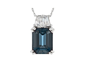 Blue Lab Created Alexandrite Rhodium Over 10k White Gold Pendant with Chain 4.23ctw