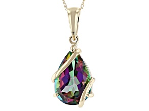 "Mystic Fire(R) Green Topaz  10k Yellow Gold Pendant With 18"" Rope Chain 4.85ct"
