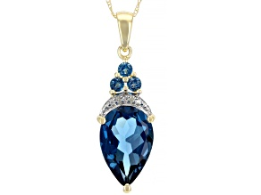 Blue Topaz 10k Yellow Gold Pendant With Chain 5.51ctw