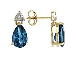 Blue Topaz 10k Yellow Gold Earrings 2.80ctw