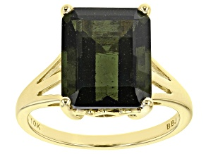 Green Moldavite 10K Yellow Gold Solitaire Ring 4.17ct