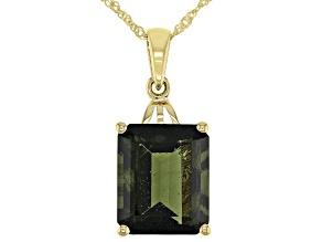 Green Moldavite 10K Yellow Gold Pendant With Chain 4.17ct
