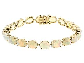 White Ethiopian Opal 10k Yellow Gold Bracelet 15.05ctw