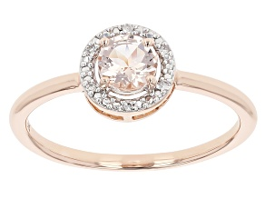 Round Morganite 10K Rose Gold Halo Ring 0.40ctw
