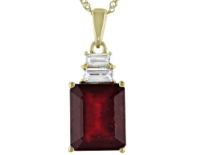 Red Mahaleo® Ruby 10k Yellow Gold Pendant With Chain  5.53ctw