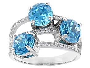Blue & White Cubic Zirconia Rhodium Over Sterling Silver Ring 8.00ctw