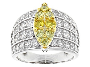 Yellow And White Cubic Zirconia Rhodium & 18 K Yellow Gold Over Silver Ring 4.94ctw