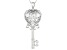 White Fabulite Strontium Titanate silver key pendant with chain 3.37ctw