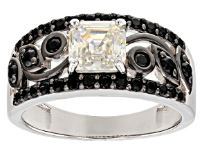 White Fabulite Strontium Titanate and black spinel silver ring 2.01ctw