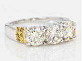 White Fabulite Strontium Titanate and citrine silver with 18k yellow gold accent ring 3.52ctw