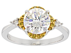 Fabulite Strontium Titanate with yellow diamond and white zircon sterling silver ring 2.69ctw