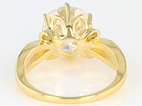 FABULITE STRONTIUM TITANATE 18K YELLOW GOLD OVER STERLING SILVER SOLITAIRE RING 4.77ct.