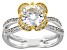 White Fabulite Strontium Titanate And white zircon silver and 18k yellow gold accent ring 2.47ctw