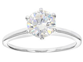 White Fabulite Strontium Titanate Rhodium Over Sterling Silver Solitaire Ring 1.76ct
