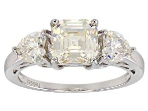 White Fabulite Strontium Titanate silver 3-stone ring 3.77ctw