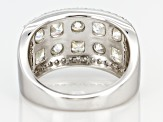 White Fabulite Strontium Titanate And White Zircon  Sterling Silver Ring 4.76ctw