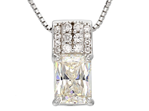 White Fabulite Strontium Titanate Sterling Silver Pendant With Chain 2.25ctw