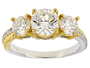 Fabulite Strontium Titnante  And White Zircon Rhodium And 18k Yellow Gold Over Silver Ring 3.17ctw