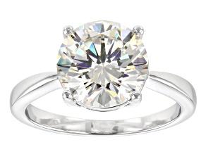 White Fabulite Strontium Titanate Rhodium Over Sterling Silver Ring 4.60ct