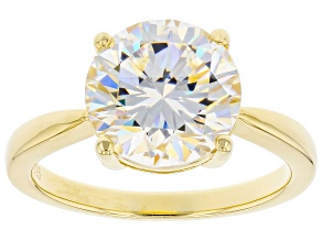 White lab created strontium titanate 18k yellow gold over sterling silver solitaire ring 4.60ct