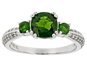Green chrome diopside sterling silver ring 1.53ctw