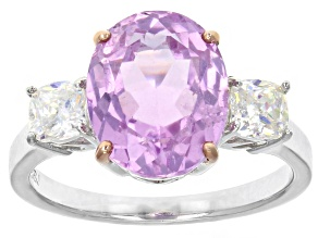 Pink kunzite sterling silver ring 4.49ctw