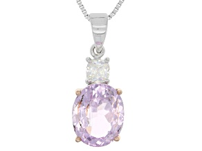 Pink kunzite sterling silver pendant with chain 4.14ctw