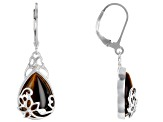 Brown tiger's eye rhodium over sterling silver dangle earrings